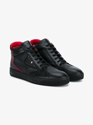 Fendi Leather Mid Top Monster Sneakers Black Red