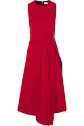 Victoria Beckham Wrap Effect Wool Drill Midi Dress