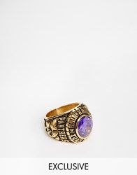 Reclaimed Vintage Purple Stone Varsity Ring Gold