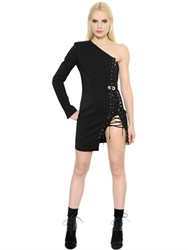 Anthony Vaccarello One Shoulder Lace Up Cool Wool Dress