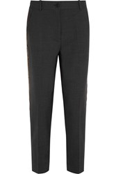 J.Crew Ludlow Sequin Paneled Stretch Wool Straight Leg Pants Gray