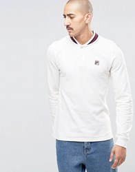 Fila Vintage Long Sleeve Polo Shirt With Retro Collar Off White