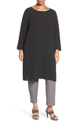 Eileen Fisher Plus Size Women's Silk Crepe Georgette Bateau Neck Tunic