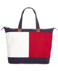 Tommy Hilfiger Flag Colorblock Top Zip Tote Tommy Navy