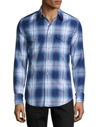 Tom Ford Plaid Western Cotton Shirt Blue
