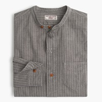 J.Crew Wallace And Barnes Jaspe Band Collar Popover Shirt Paste White