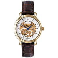 Rotary Gs90506 06 Men's Jura Skeleton Dial Automatic Watch Gold Brown