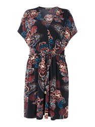 Biba Printed V Neck Tie Waist Dress Multi Coloured