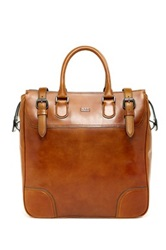 Hugo Boss Large Leather Zip Tote Brown
