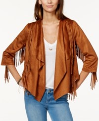 American Rag Fringed Faux Suede Waterfall Front Jacket Only At Macy's