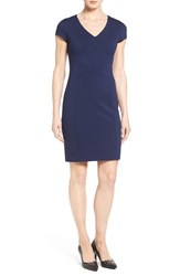 Halogenr Petite Women's Halogen Seamed V Neck Ponte Sheath Dress Navy Peacoat