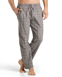 Hanro Emilien Plaid Flannel Lounge Pants Brown Red