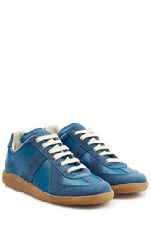 Maison Martin Margiela Maison Margiela Leather And Suede Sneakers Blue