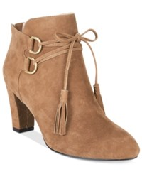 Taryn Rose Tr Trisha Lace Up Ankle Booties Women's Shoes Quinoa Suede