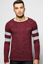 Boohoo Knit Jumper With Sports Stripes Wine
