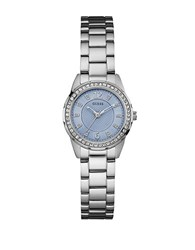 Guess Crystal And Stainless Steel Blue Dial Bracelet Watch U0445l5 Silver