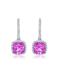 Diana M. Jewels 14K White Gold Cushion Cut Pink Topaz And Diamond Drop Earrings Women's