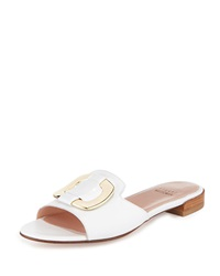 Stuart Weitzman Odeon Leather Buckle Slide White