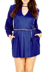 City Chic Plus Size Women's 'Peekaboo Playsuit' Belted Long Sleeve Romper Cobalt