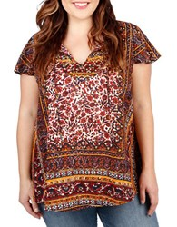 Lucky Brand Plus Patterned Tunic Red Multi