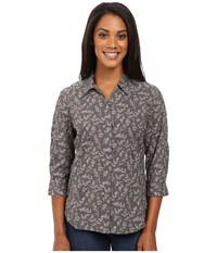 Royal Robbins Expedition Stretch 3 4 Sleeve Print Obsidian Women's Clothing Brown