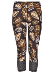 The Upside Spice Temple Print Cropped Performance Leggings Black Multi