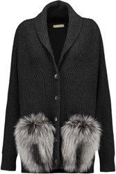 Michael Kors Collection Faux Fur Trimmed Ribbed Cashmere Cardigan Charcoal