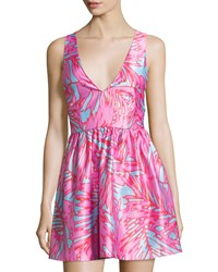 Romeo And Juliet Couture Fit And Flare Palm Print Dress Pink Blue
