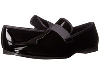 Calvin Klein Nemo Black Dark Grey Patent Leather Satin Men's Slip On Shoes