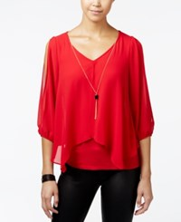 Amy Byer Bcx Juniors' Split Sleeve Flyaway Top Red