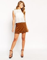 Sister Jane Twilight Warrior A Line Skirt In Faux Suede With Eyelet Detail Tan