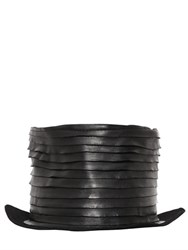 Move Layered Leather On Lapin Felt Top Hat
