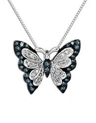 Lord And Taylor Green Diamond Diamond Sterling Silver Butterfly Pendant Necklace
