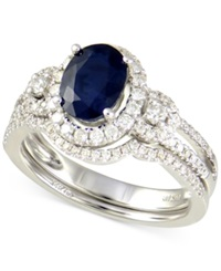 Macy's Sapphire 1 1 10 Ct. T.W. And Diamond 1 3 Ct. T.W. Ring In 14K White Gold