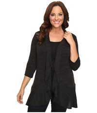 Kiyonna Love Story Cardigan Charcoal Grey Women's Sweater Gray