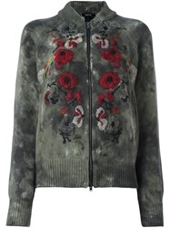 Avant Toi 'Roses' Embroidered Cardigan Green