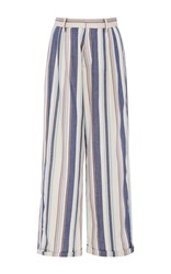Christine Alcalay Havana Stripe Cropped Pants Blue