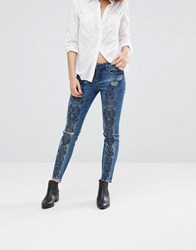 Blank Nyc Print Slim Jeans With Ripped Knees And Raw Hem Tiffany Blew Blue
