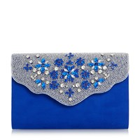 Linea Bolana Embellished Flap Clutch Bag Blue