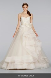 Women's Lazaro Strapless Lace And Layered Tulle Ballgown In Stores Only