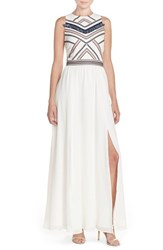 Women's Adelyn Rae Embroidered Chiffon Fit And Flare Maxi Dress Ivory
