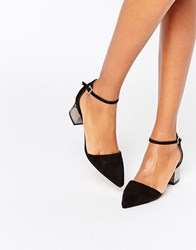 Truffle Collection Molly Ankle Strap Mid Heeled Shoes Black Pewter