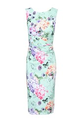 Jolie Moi Floral Print Ruched Shift Dress Green