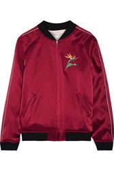 Opening Ceremony Reversible Embroidered Silk Satin Bomber Jacket Claret