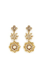 Miriam Haskell Crystal Baroque Pearl Star Drop Earrings White