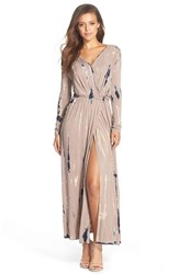 Women's Fraiche By J Tie Dye Faux Wrap Maxi Dress Taupe