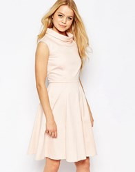Closet Funnel Neck Flared Midi Dress Peach Pink