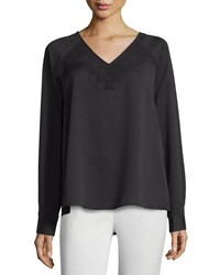 Catherine Catherine Malandrino Long Sleeve Top W Pleated Detail Black