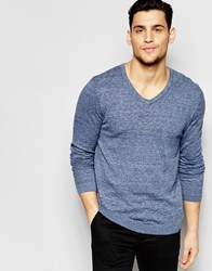 Asos V Neck Jumper In Blue Twist Cotton Blue