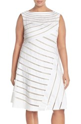 Plus Size Women's Adrianna Papell Banded Mesh Fit And Flare Dress